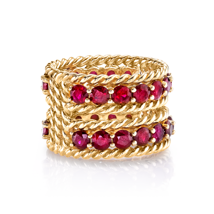 RUBY TWO ROW TWIST RING