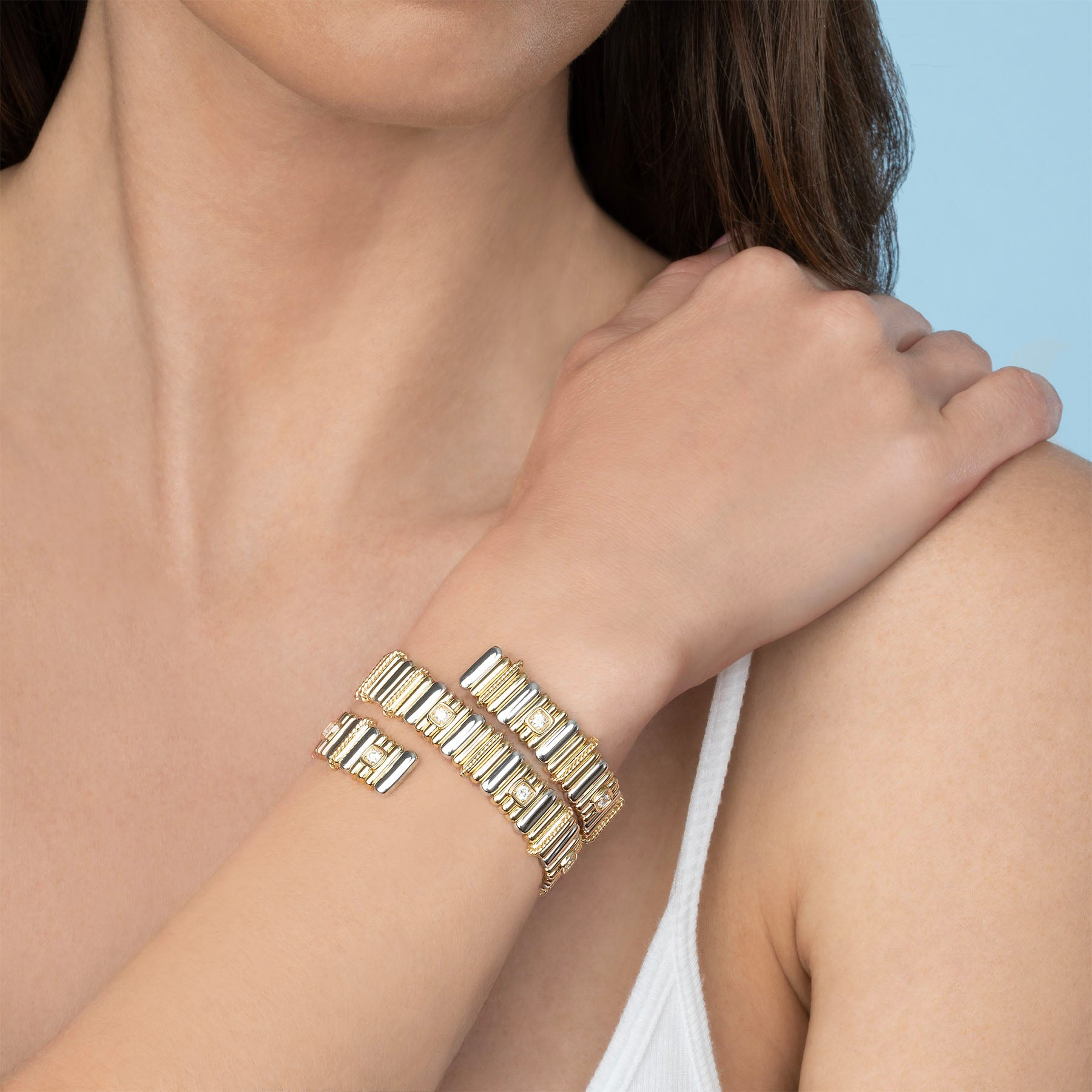 DIAMOND AND GOLD COIL BRACELET