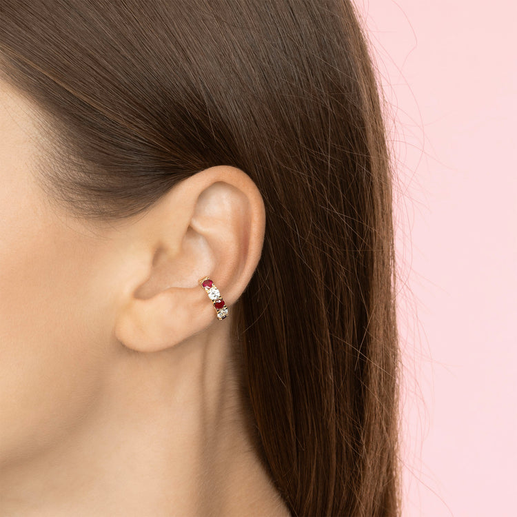 DIAMOND AND RUBY CLASSIC EAR CUFF