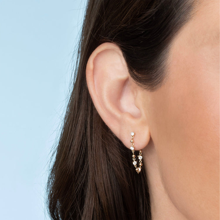 DIAMOND STUD AND SPHERE CHAIN EARRING