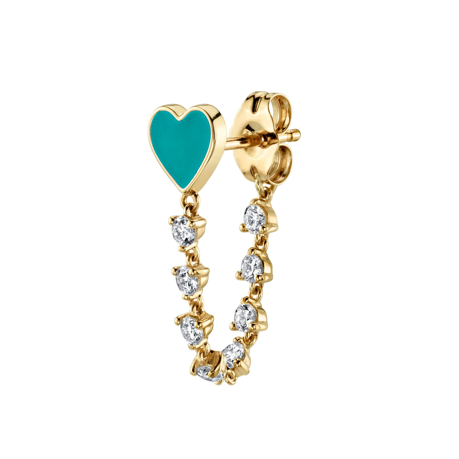 DIAMOND AND TURQUOISE ENAMEL HEART EARRING