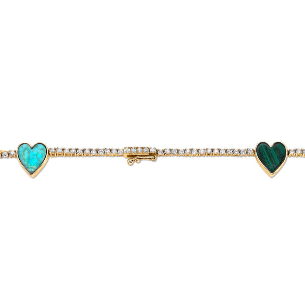 DIAMOND AND STONE HEART TENNIS NECKLACE