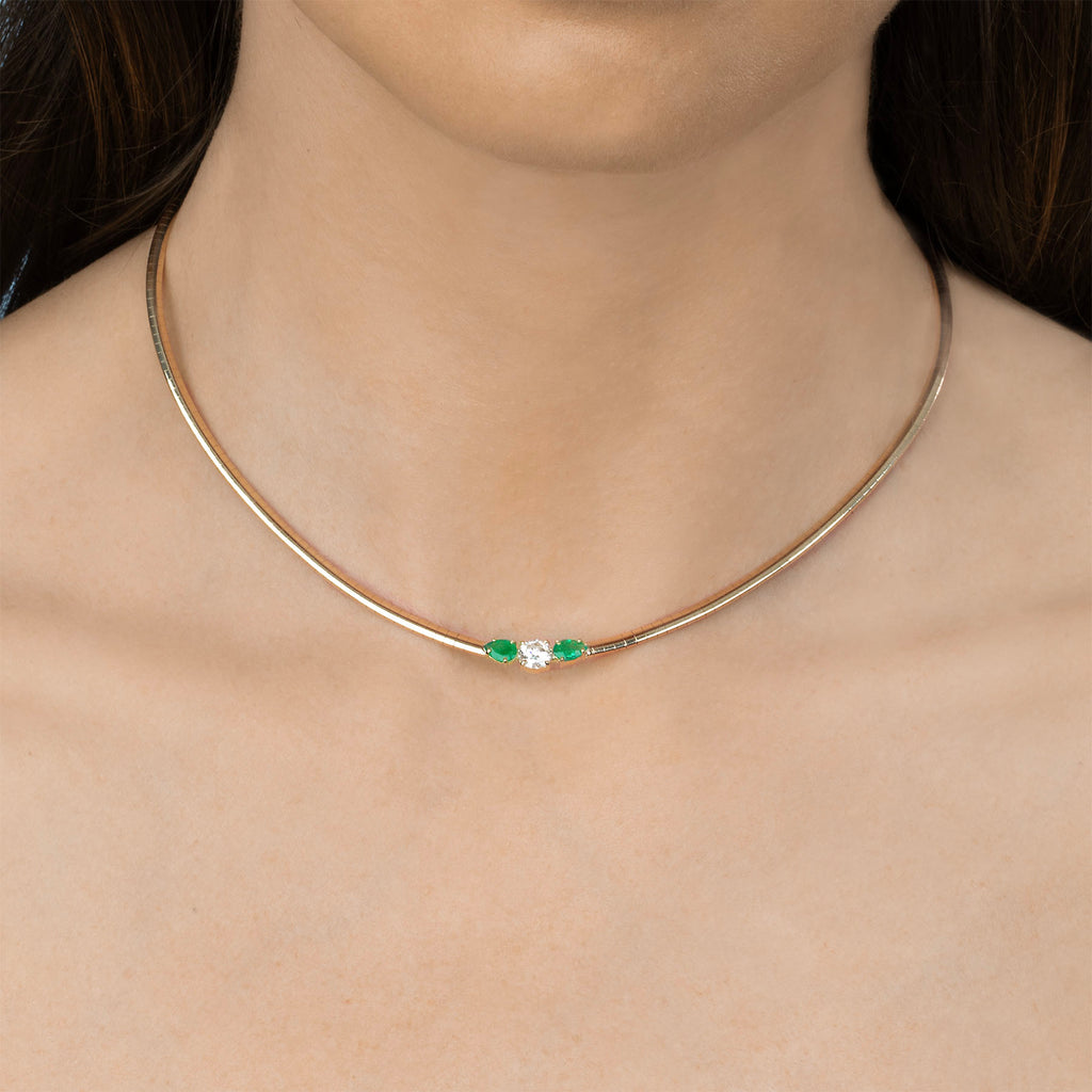 DIAMOND AND EMERALD DARLING NECKLACE