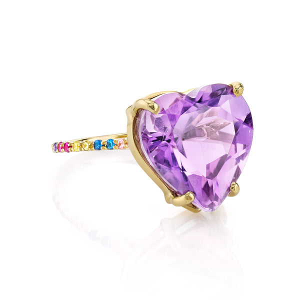 AMETHYST AND RAINBOW HEART RING