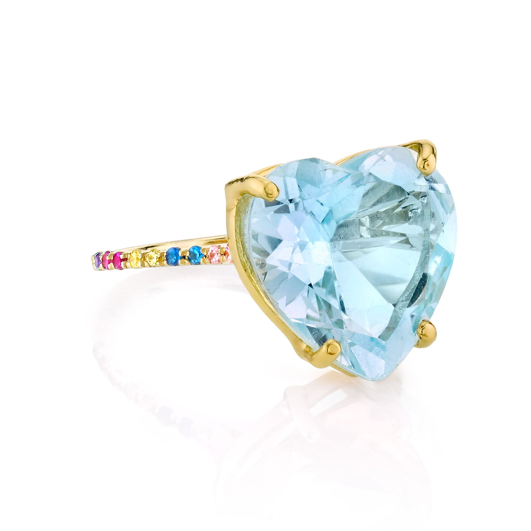 BLUE TOPAZ AND RAINBOW HEART RING