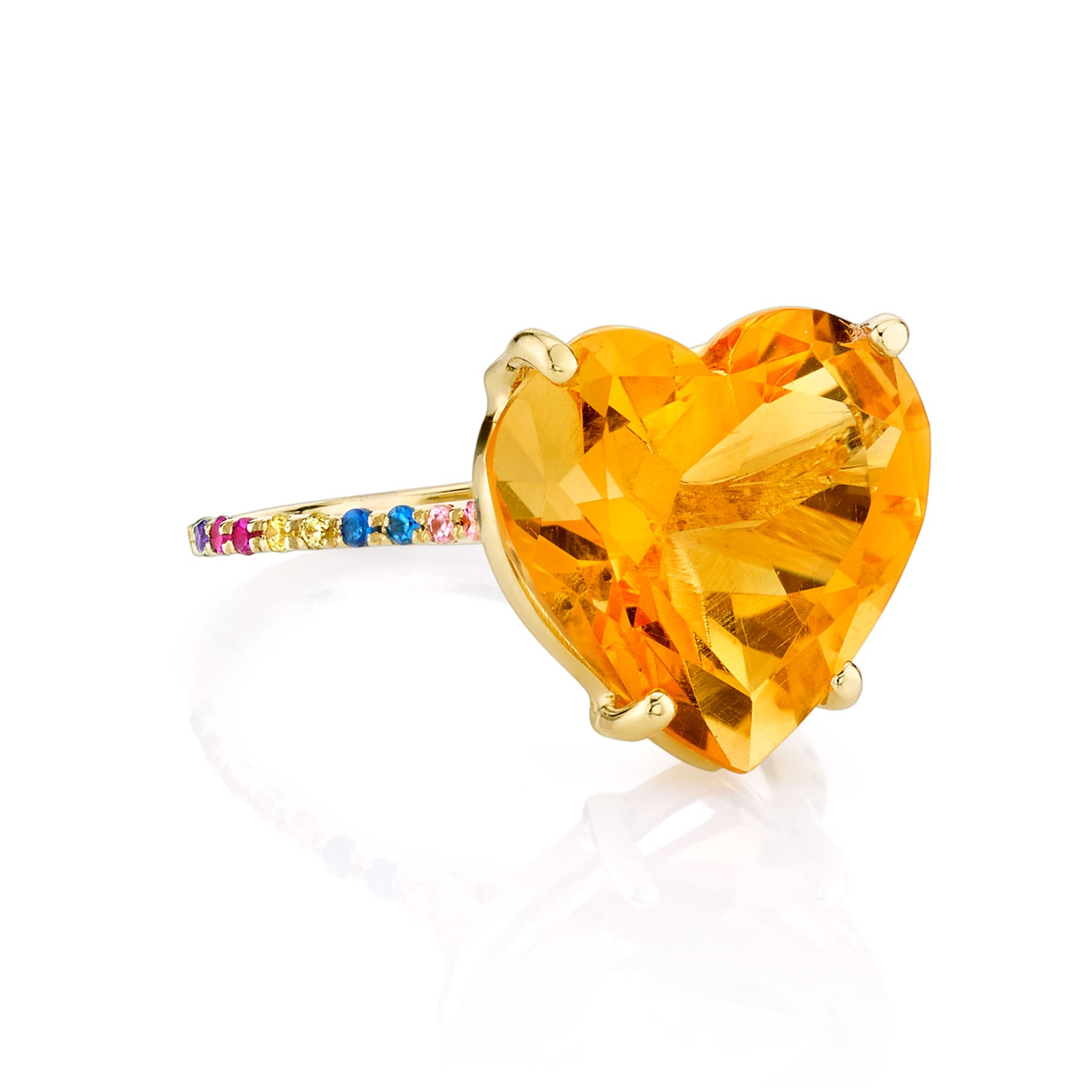 CITRINE AND RAINBOW HEART RING