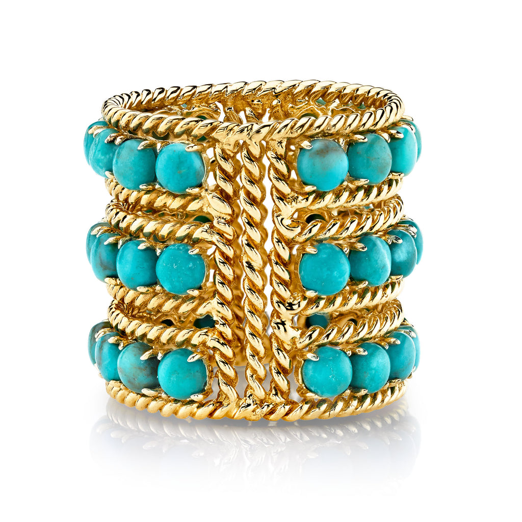 TURQUOISE THREE ROW TWIST RING