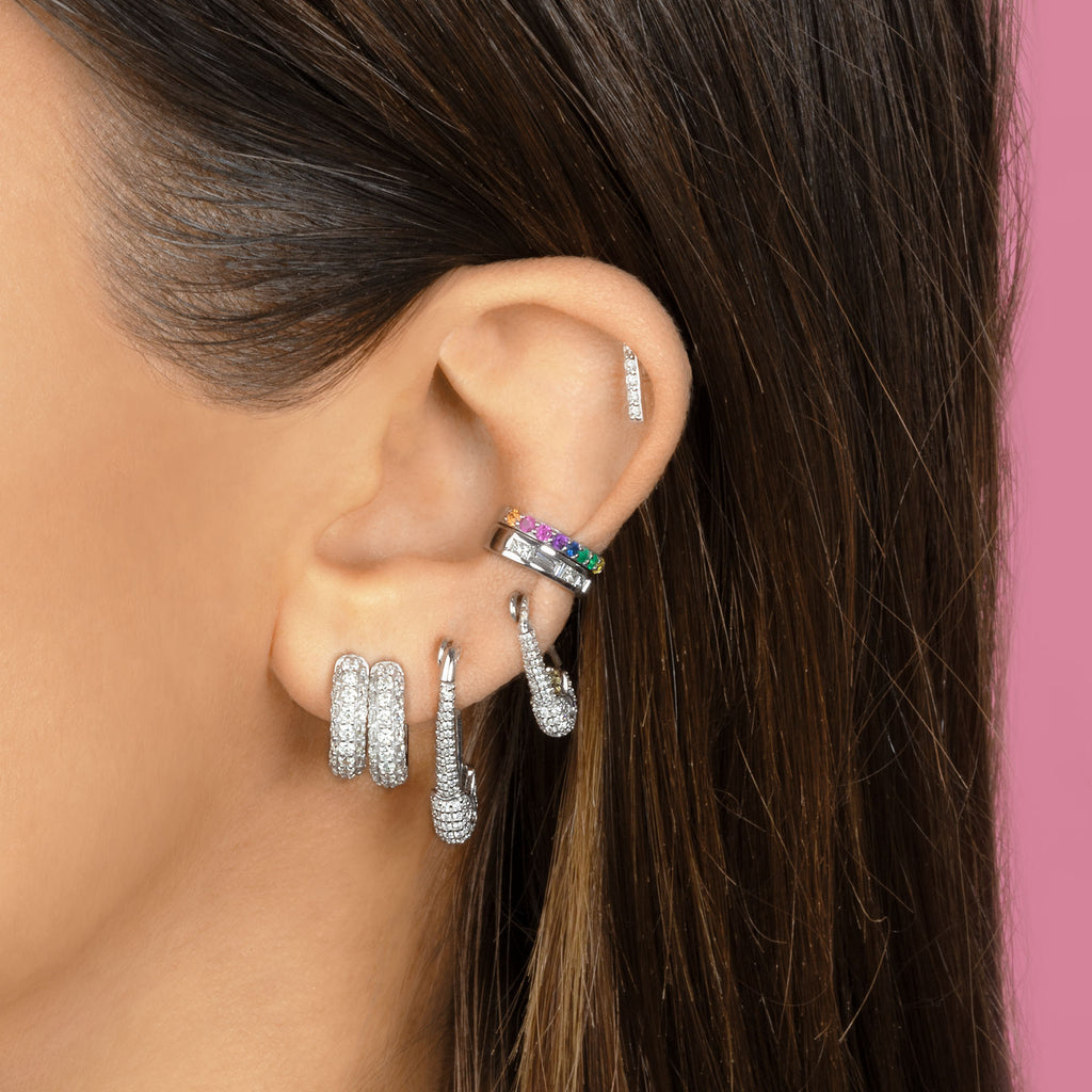 DIAMOND MEDIUM SAFETY PIN EARRING