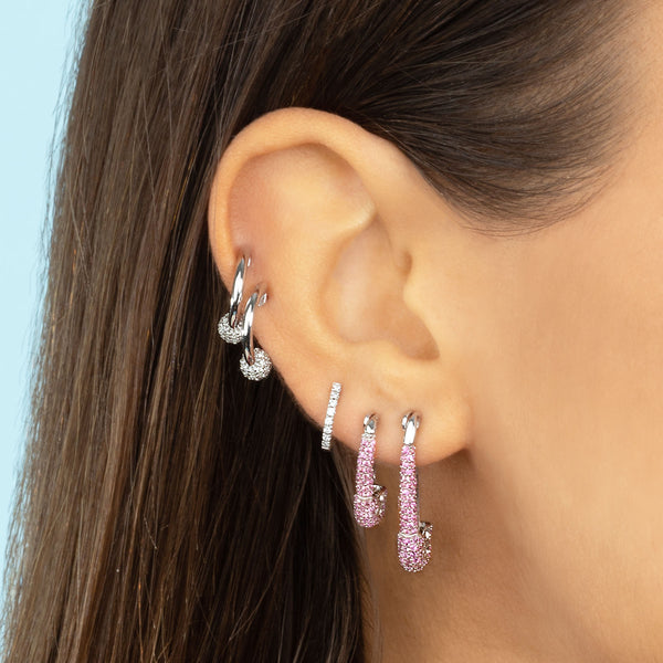 SMALL PINK SAPPHIRE SAFETY PIN EARRING
