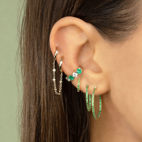 MEDIUM TSAVORITE HUGGIE EARRING
