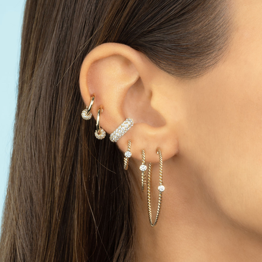 DIAMOND MINI SPHERE HOOP EARRING