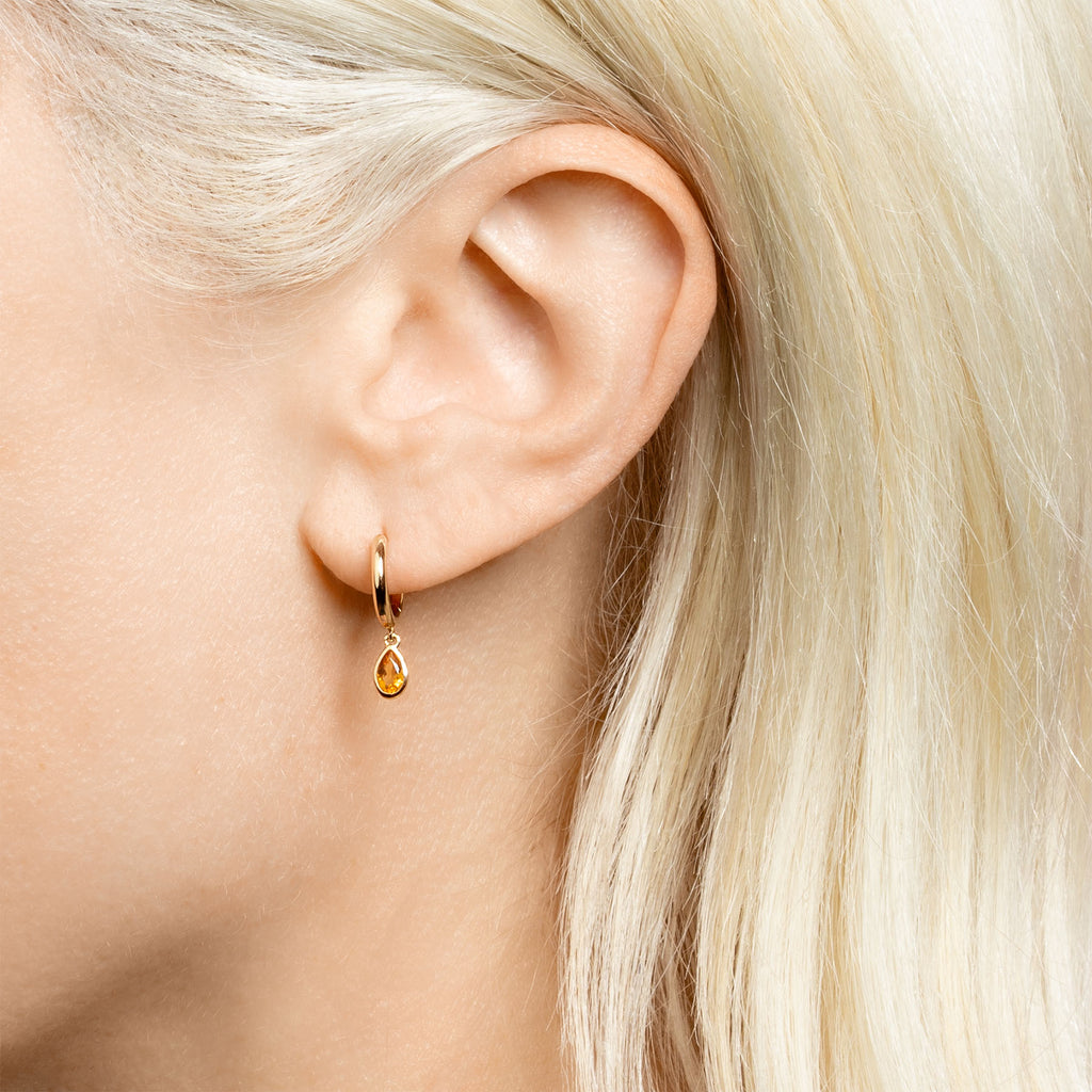 CITRINE TEARDROP SLIM HOOP