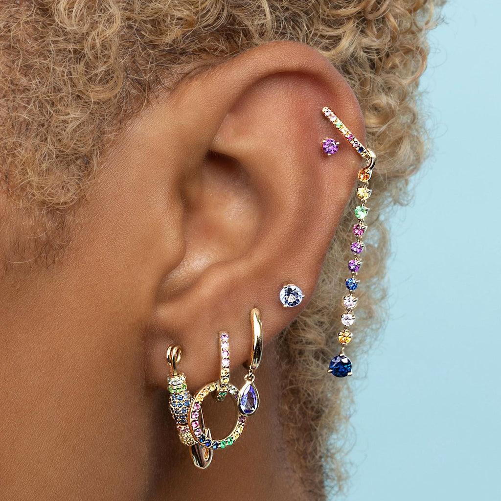 RAINBOW PAVÉ #2 BEADED SAFETY PIN EARRING