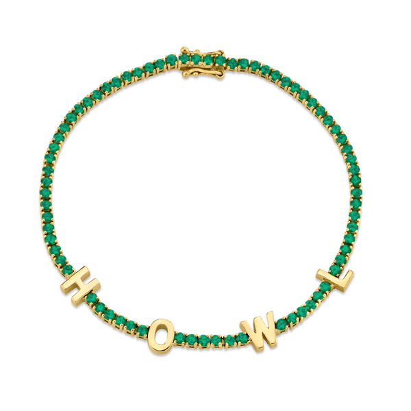 PERSONALIZED EMERALD TENNIS BRACELET