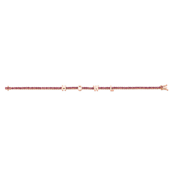 PERSONALIZED RUBY TENNIS BRACELET