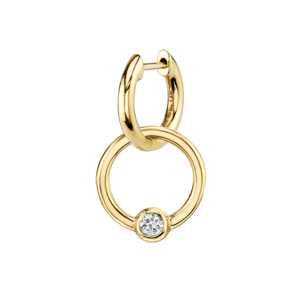 DIAMOND SOLITAIRE SPHERE HOOP EARRING CHARM