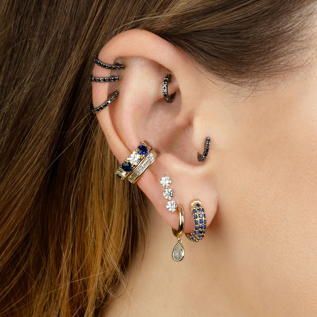 BLACK DIAMOND MEDIUM PIERCING HUGGIE EARRING