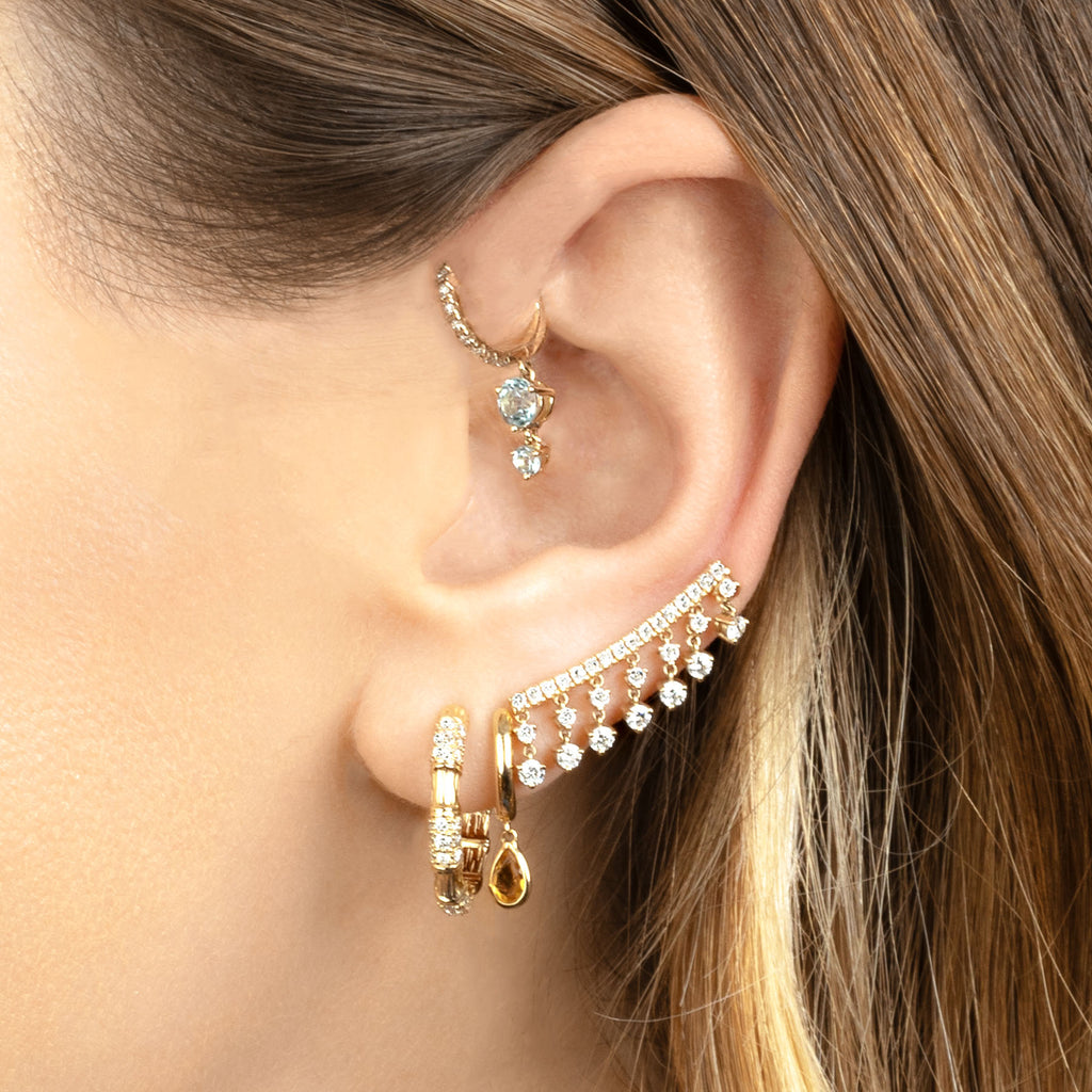 CITRINE TEARDROP SLIM HOOP EARRING