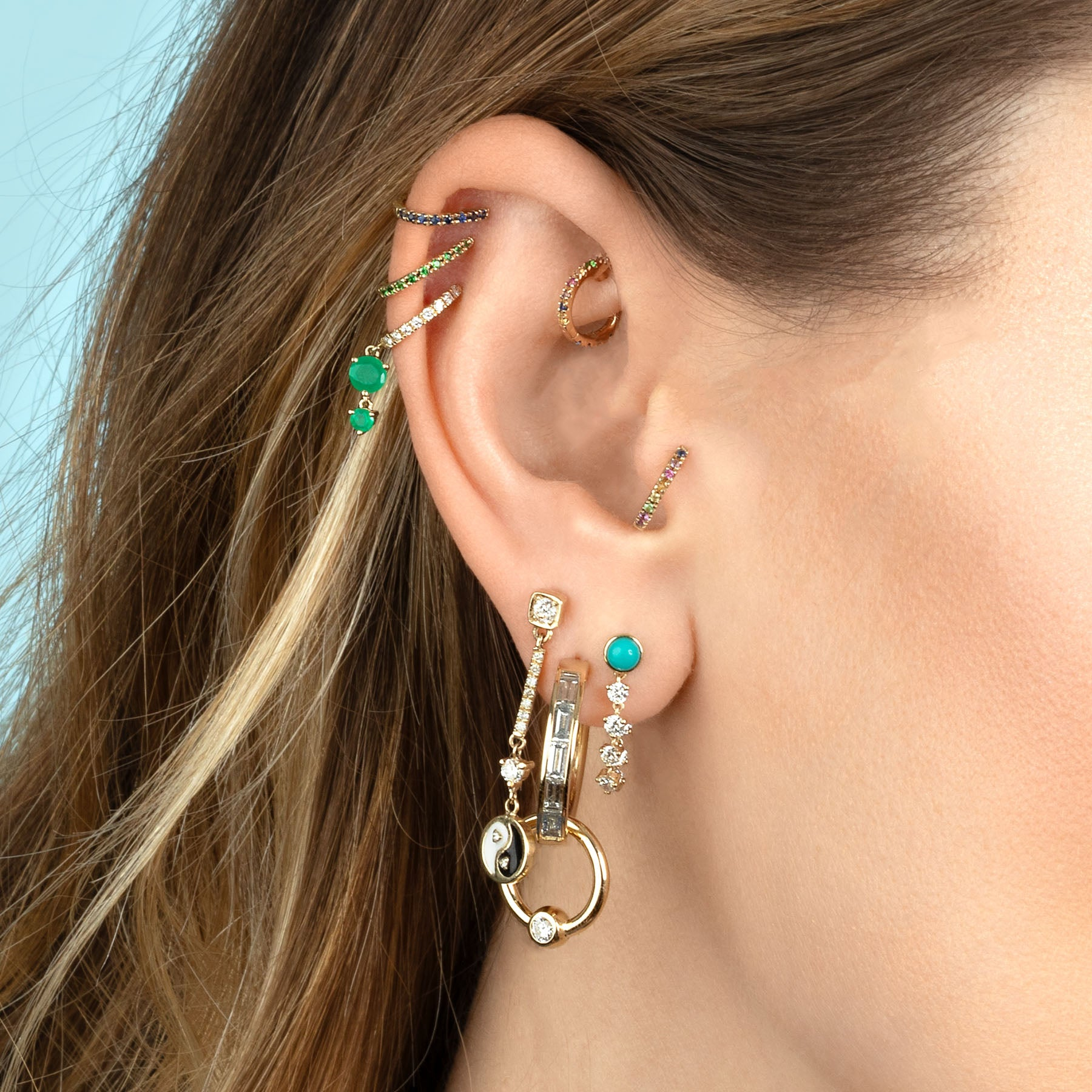 TURQUOISE STUD AND DIAMOND CHAIN EARRING