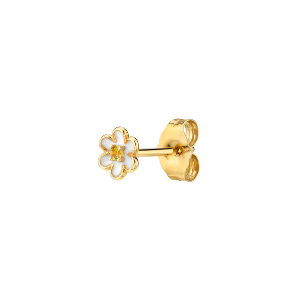 YELLOW SAPPHIRE AND ENAMEL FLOWER STUD