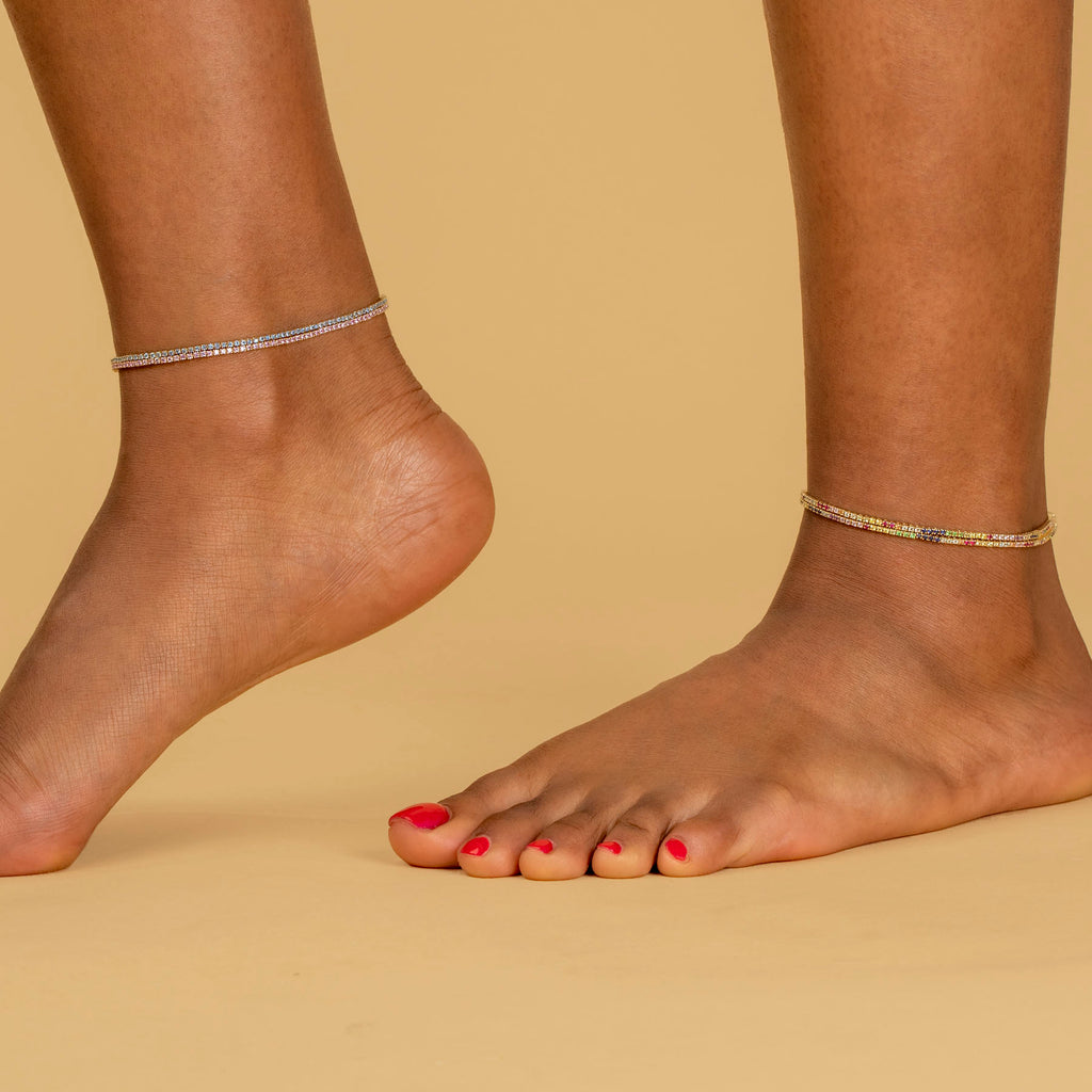PINK SAPPHIRE TENNIS ANKLET