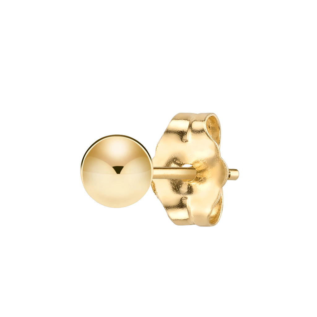 GOLD 4MM SPHERE STUD EARRING