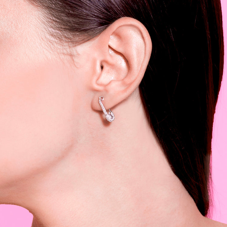 SMALL DIAMOND SAFETY PIN EARRING