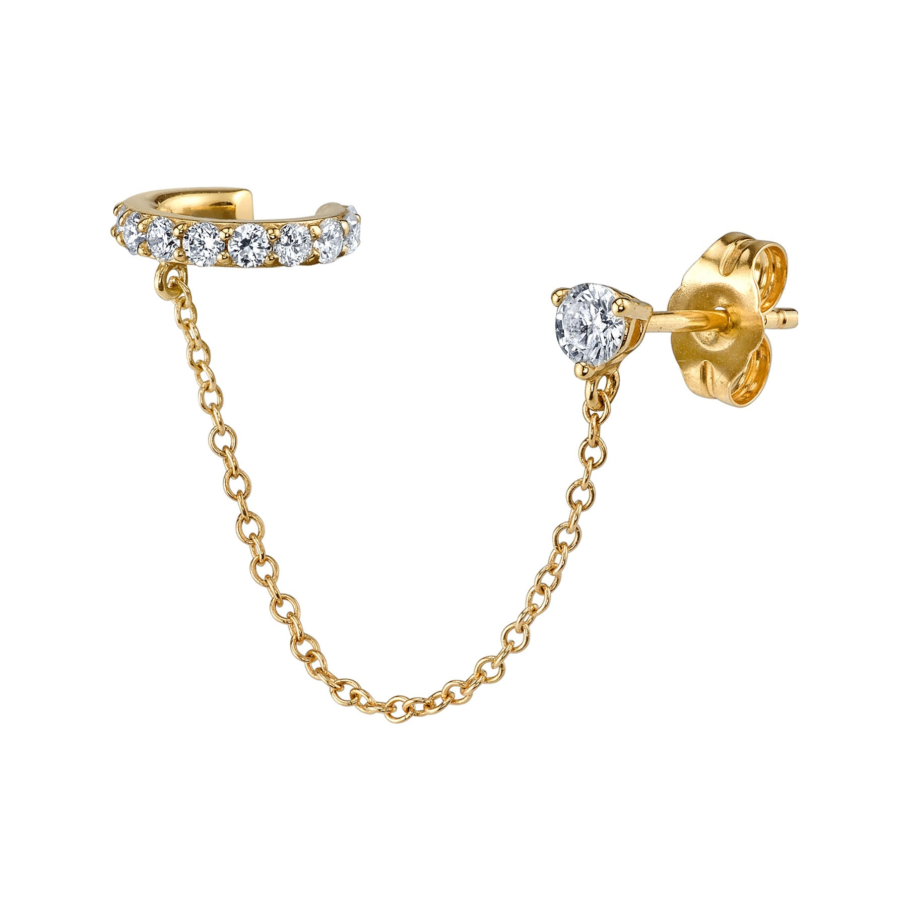 DIAMOND CONNECTED CUFF EARRING