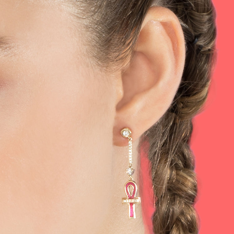 DIAMOND AND PINK ANKH DROP EARRING