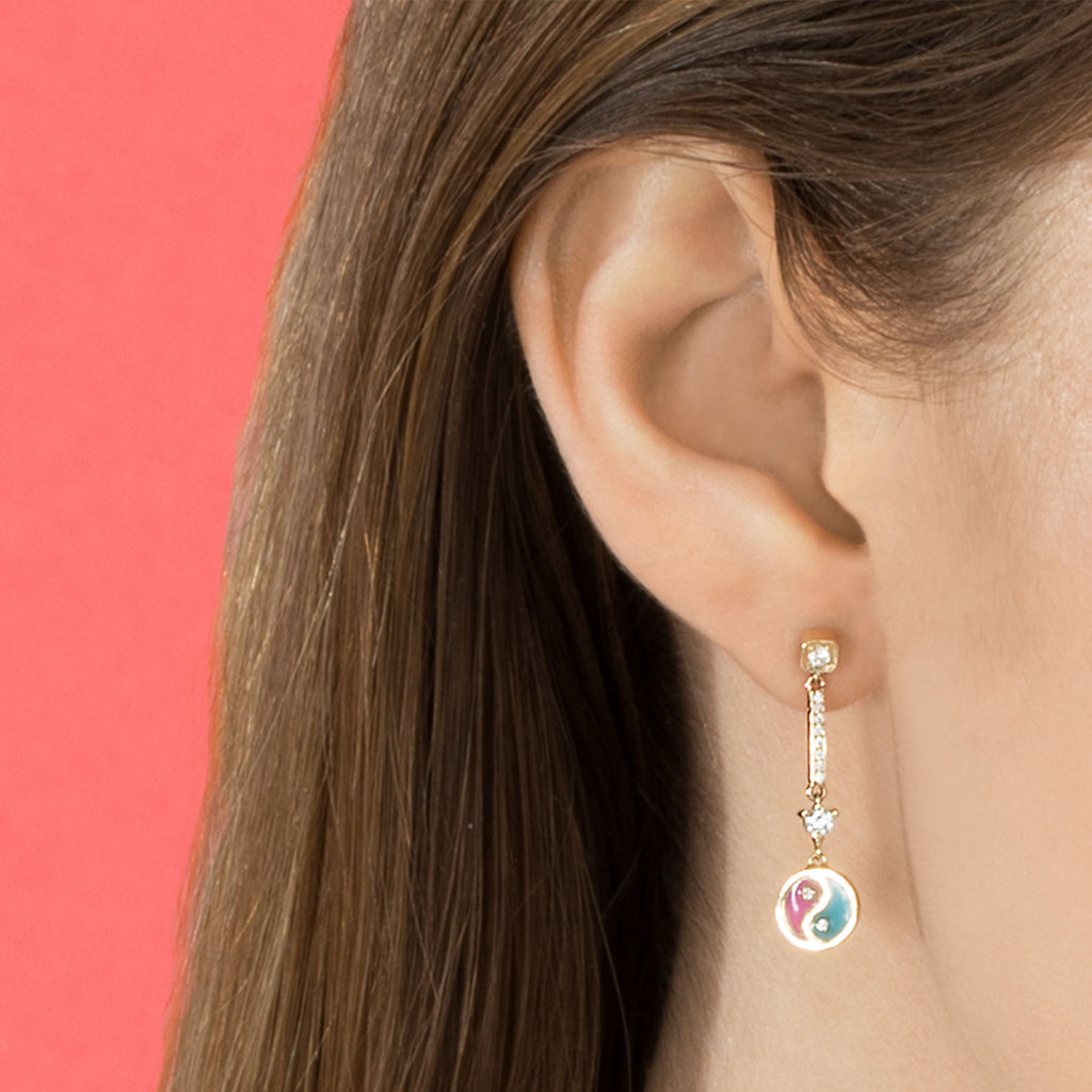 DIAMOND YIN YANG DROP EARRING
