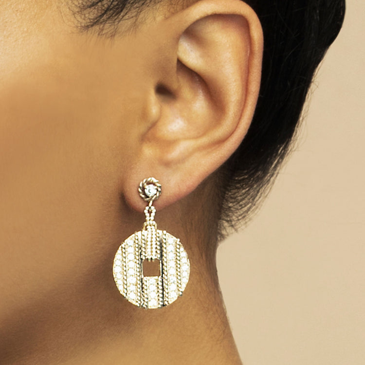 DIAMOND SPIRAL COIN EARRING