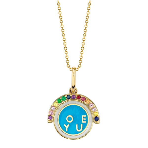 RAINBOW AND ENAMEL I LOVE YOU  SPINNING PENDANT