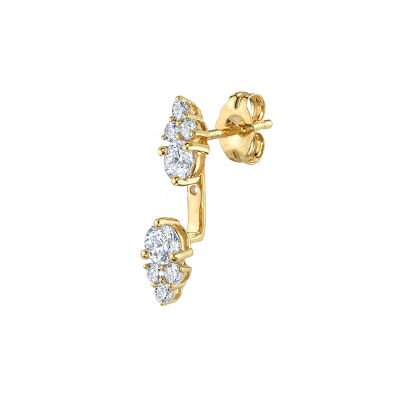 DIAMOND CLUSTER STUD AND EAR JACKET SET