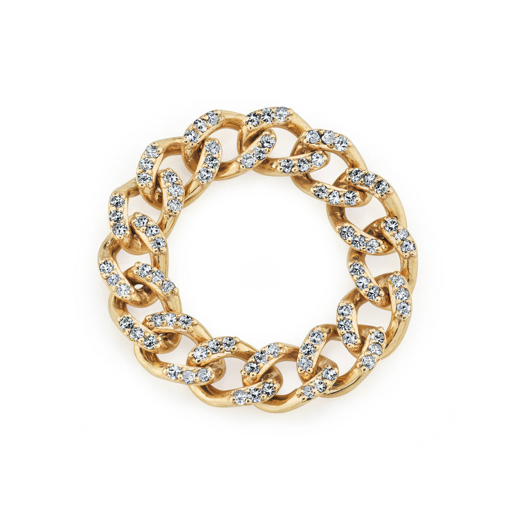DIAMOND PAVÉ CURB LINK RING