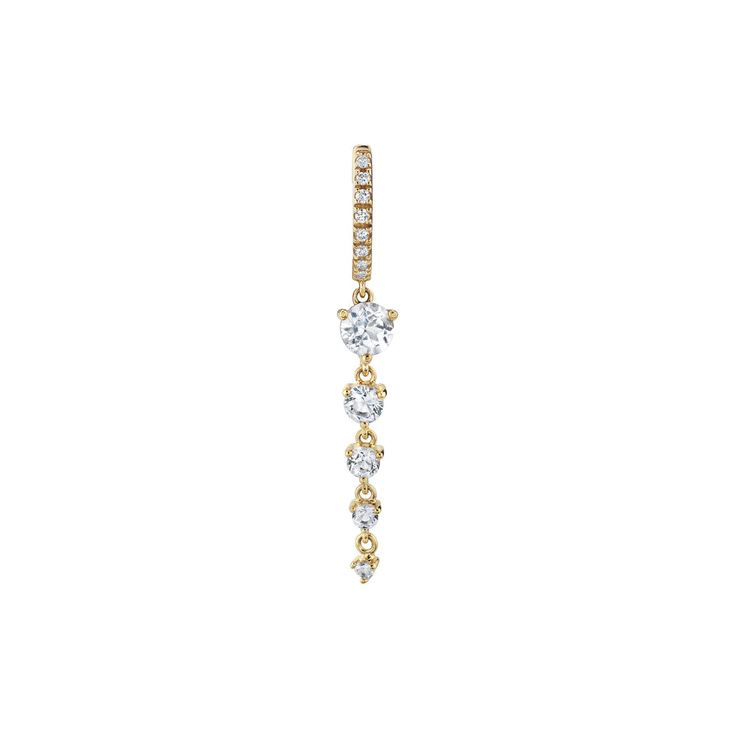 WHITE TOPAZ FIVE SOLITAIRE DROP HUGGIE EARRING