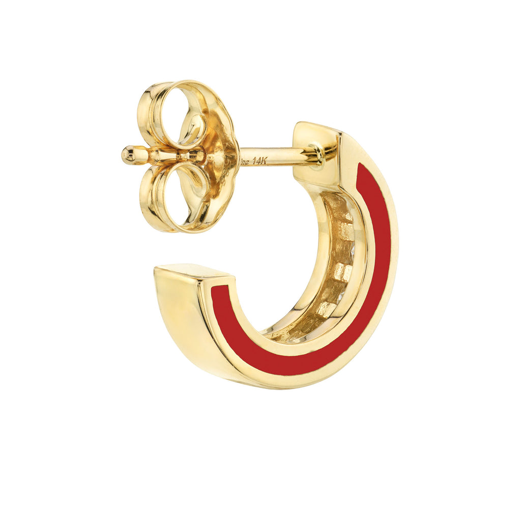 DIAMOND AND RED ENAMEL CHANNEL SET HOOP EARRING