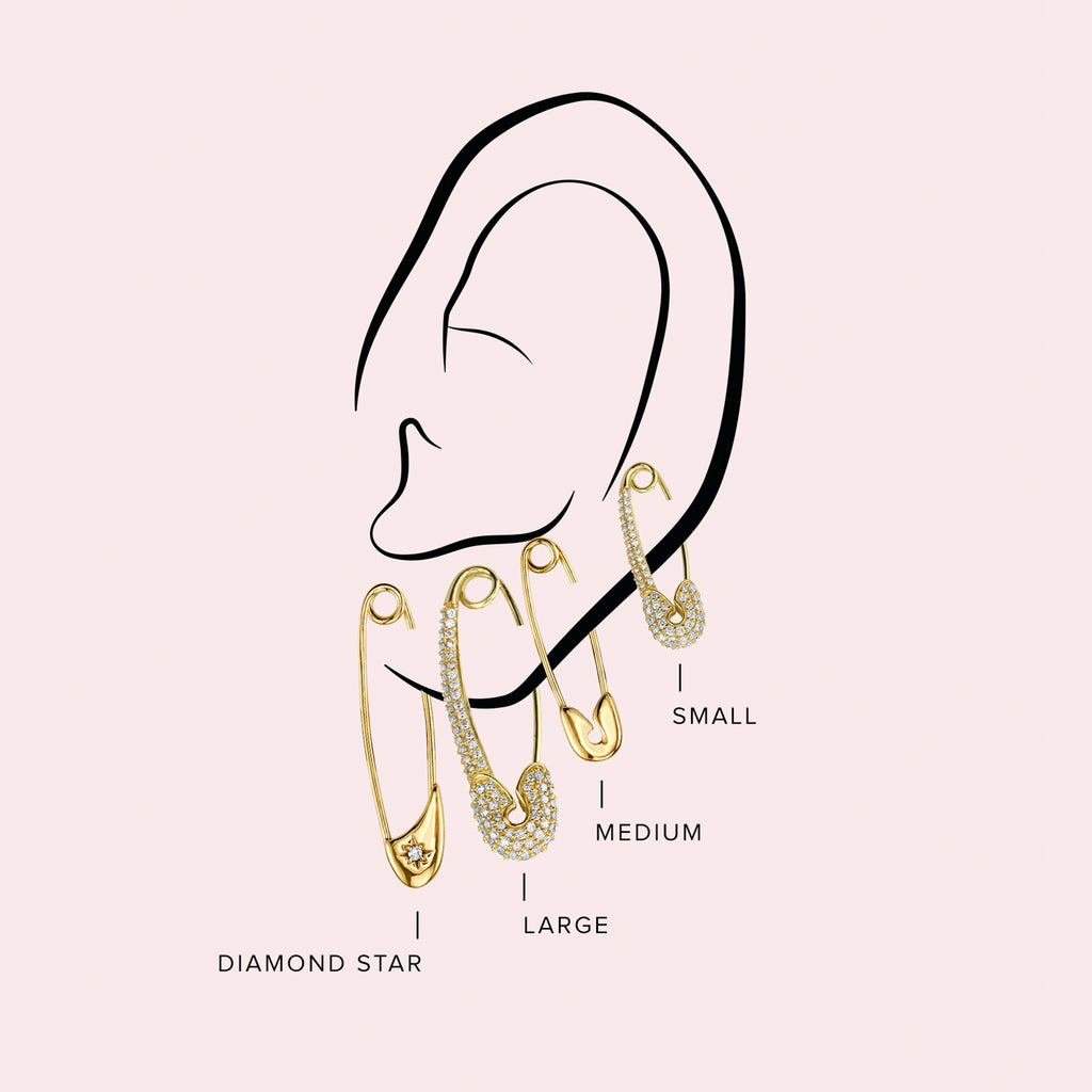 GOLD MEDIUM SAFETY PIN EARRING