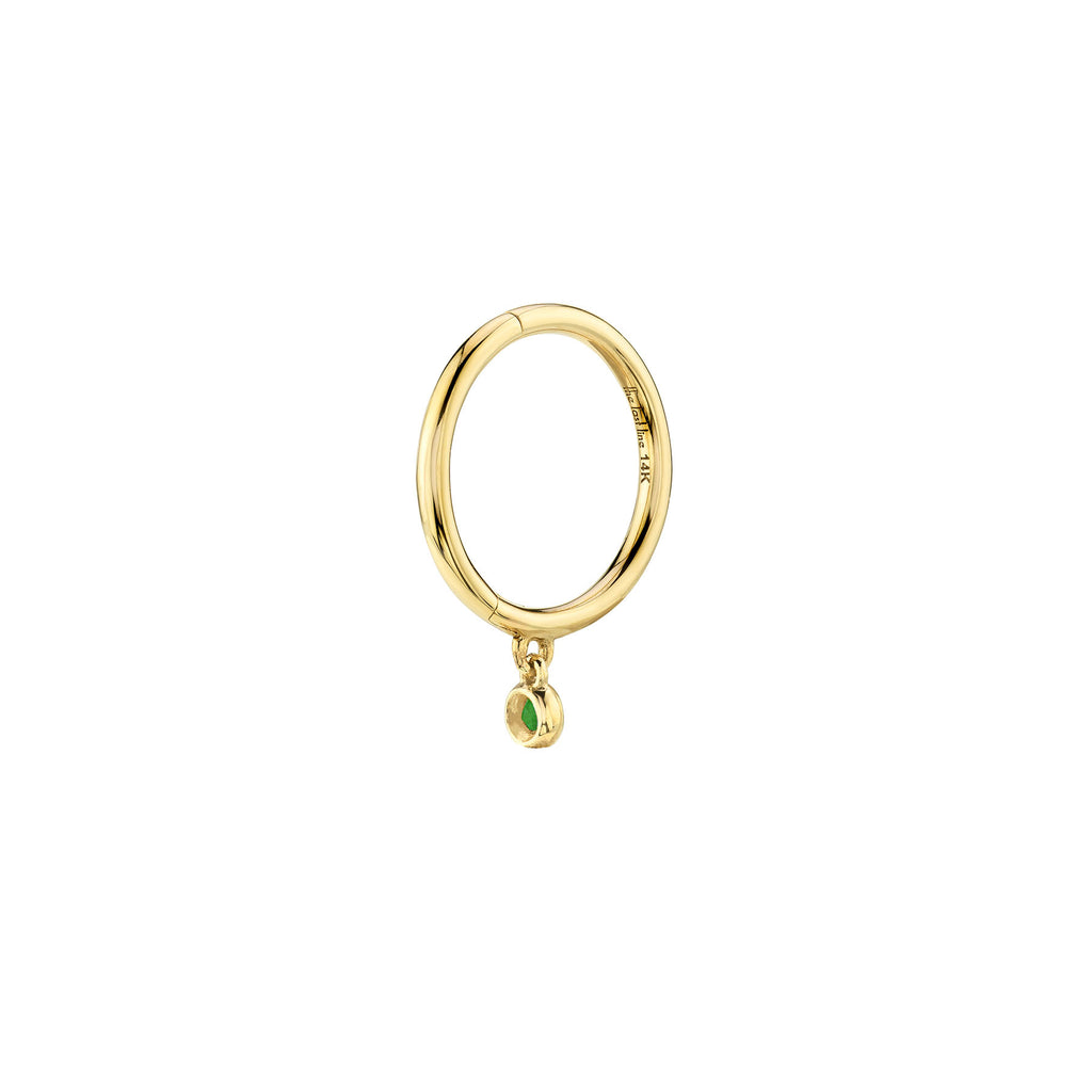 EMERALD BEZEL DROP SEAMLESS HOOP EARRING