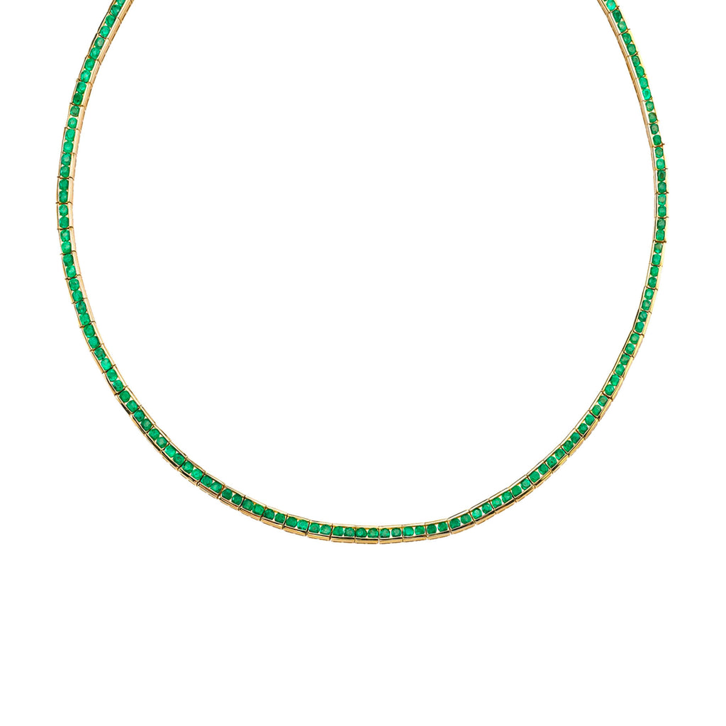 EMERALD CHANNEL SET NECKLACE