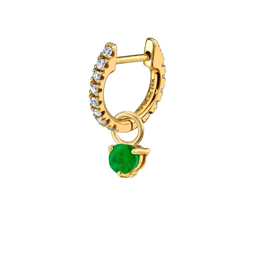 EMERALD SOLITAIRE HOOP EARRING CHARM