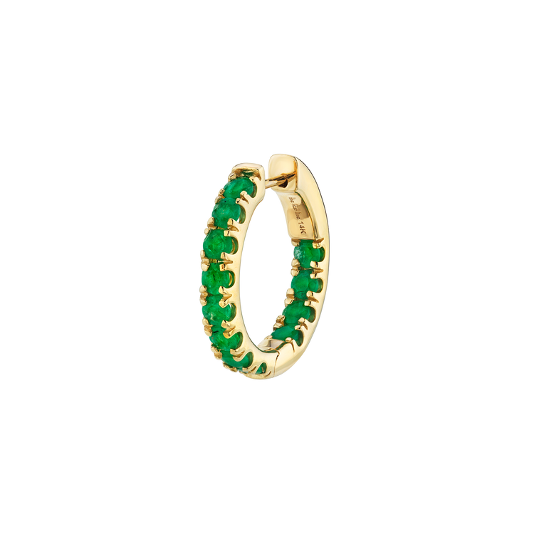 ULTIMATE MEDIUM EMERALD INSIDE OUT HOOP EARRING