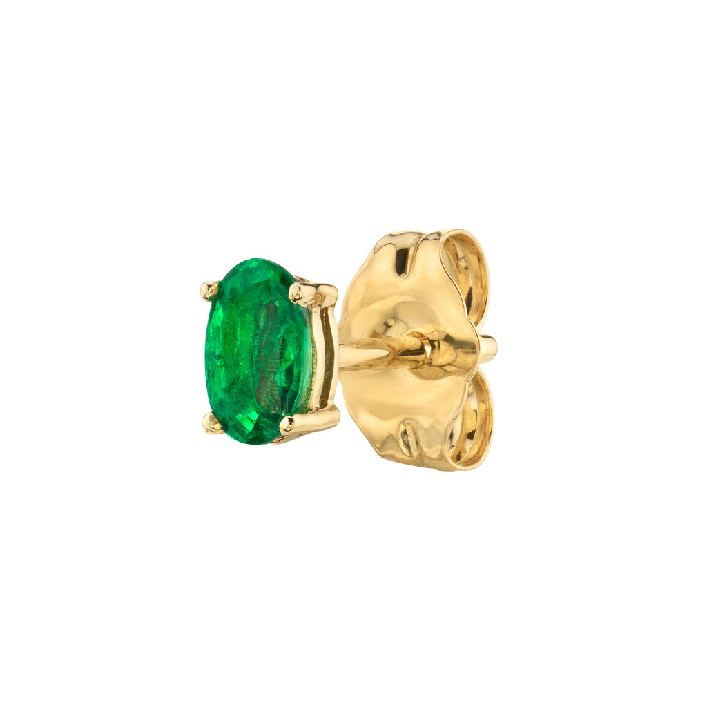EMERALD OVAL STUD EARRING