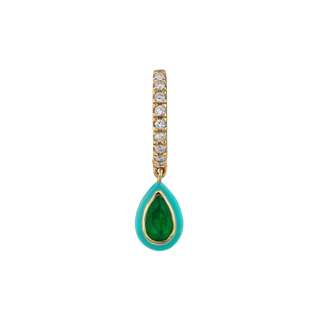 EMERALD AND TURQUOISE TEARDROP DIAMOND HUGGIE EARRING