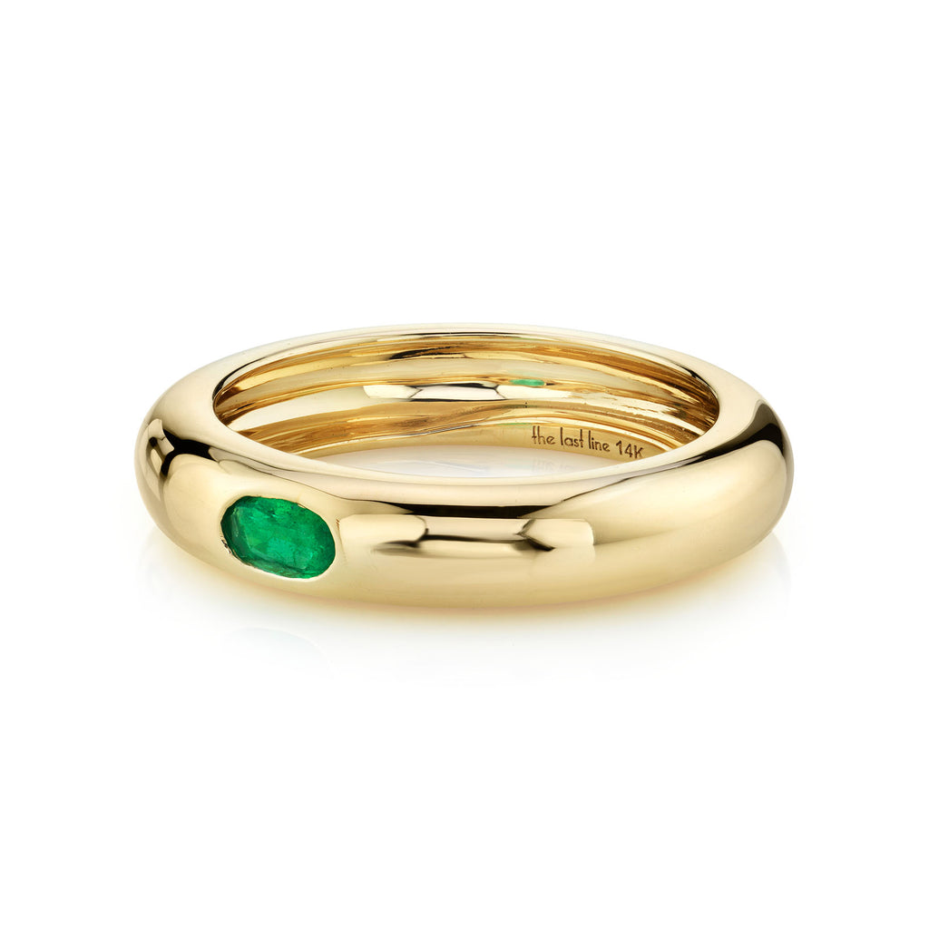 EMERALD OVAL SOLITAIRE WIDE BAND