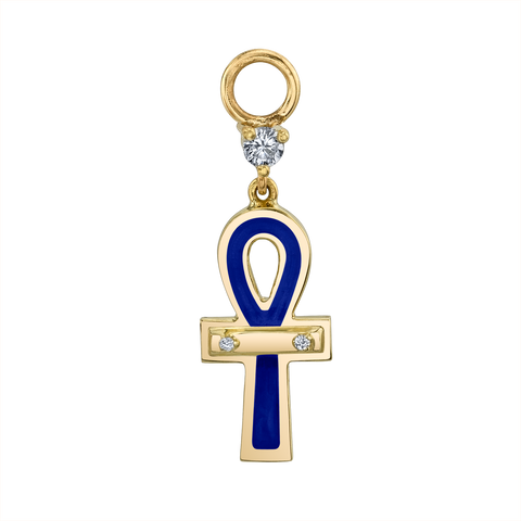 DIAMOND AND BLUE ENAMEL ANKH HOOP EARRING CHARM