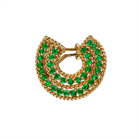 EMERALD SPIRAL TWIST EARRING