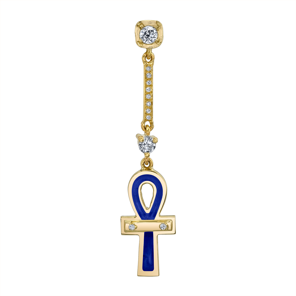 DIAMOND AND BLUE ANKH DROP EARRING