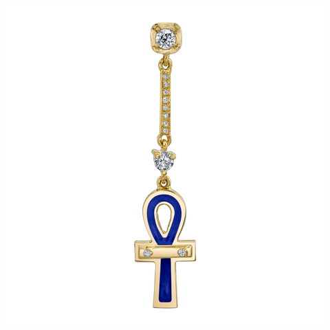 BLUE ENAMEL AND DIAMOND ANKH DROP EARRING