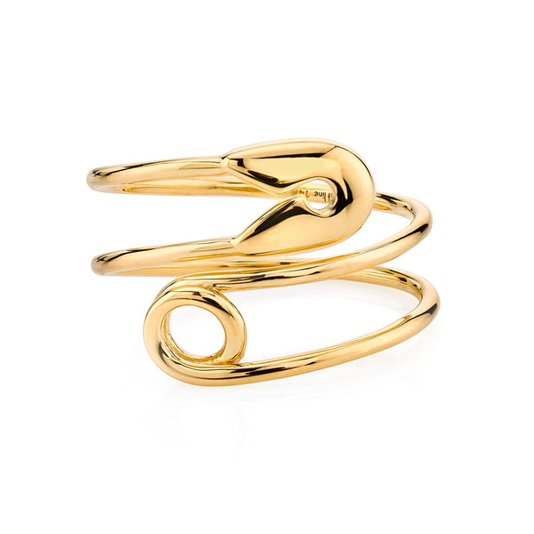 GOLD SAFETY PIN RING