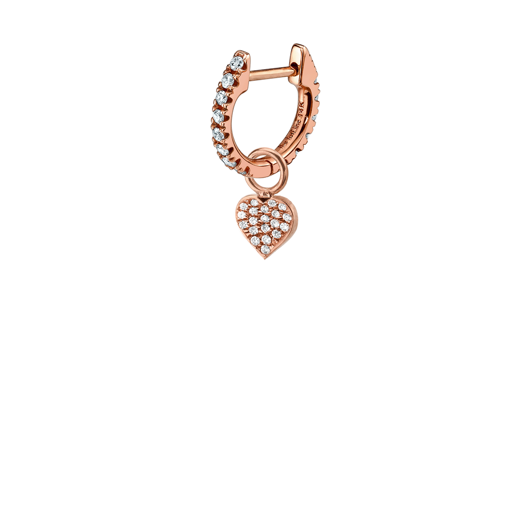 DIAMOND HEART HOOP EARRING CHARM
